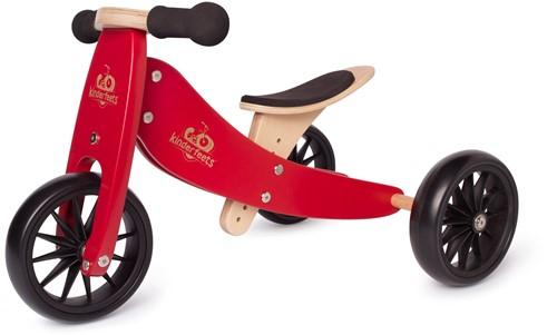 Kinderfeets houten loopfiets & driewieler Tiny Tot Cherry Red