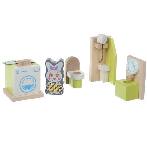 Cubika houten poppenhuismeubels - badkamer