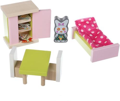 Cubika houten poppenhuismeubels - slaapkamer