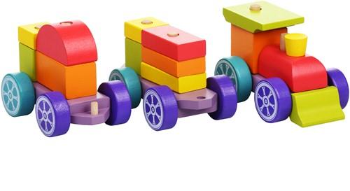 """Cubika houten trein """"regenboog express"""""""
