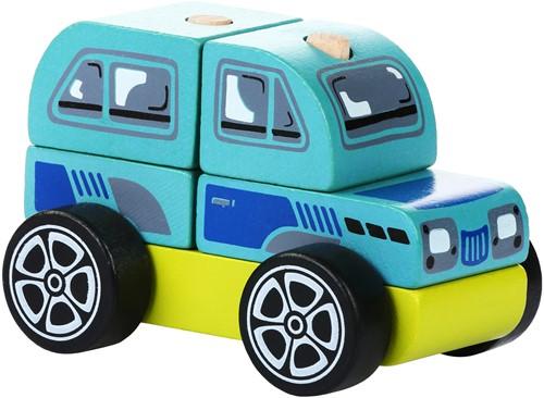 Cubika houten sorteerfiguur auto offroader blauw/rood