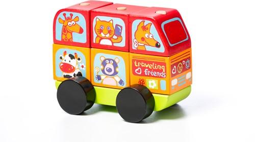 Cubika houten sorteerfiguur mini-bus vrolijke dieren