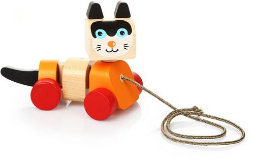 Cubika houten trekfiguur kat