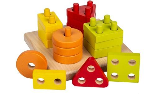 Cubika houten vormen sorteerset vier kleuren - vierkant
