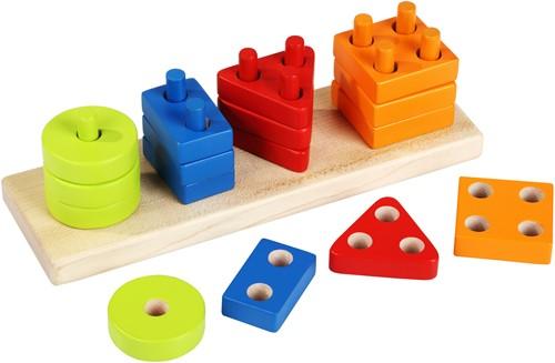 Cubika houten vormen sorteerset vier kleuren - rechthoek