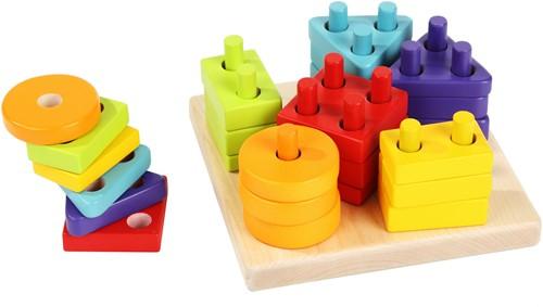 Cubika houten vormen sorteerset zes kleuren