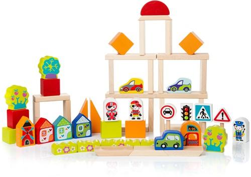 Cubika houten blokkenset verkeer
