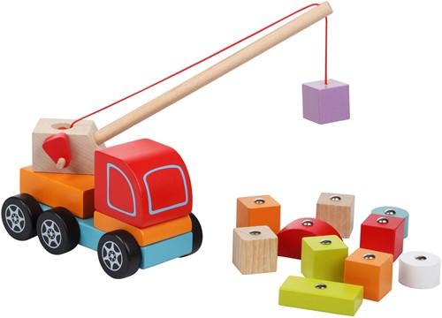 Cubika houten kraanwagen met blokken - magnetisch