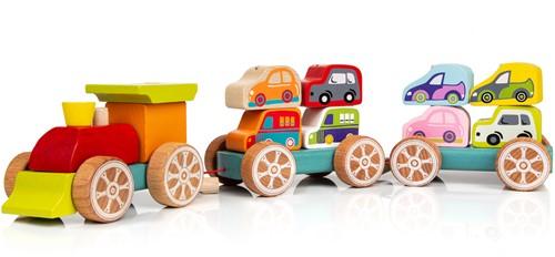 Cubika houten trein autotransporter
