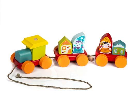 Cubika houten trekfiguur trein twee dwergen