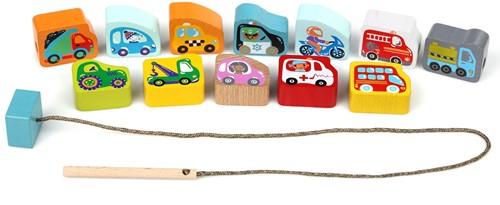 Cubika houten rijgspel vlugge voertuigen