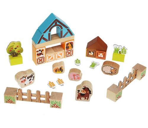 Cubika houten speelset boerderij