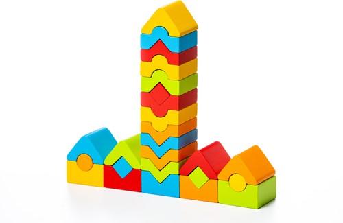 Cubika houten stapeltorentjes blokkenset