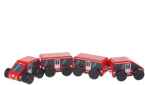 Cubika houten trein magnetisch - rood