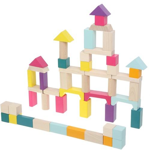 Cubika houten blokkenset - 50 stuks