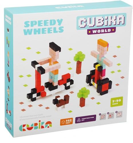 Cubika houten blokjes bouwset - snelle wielen