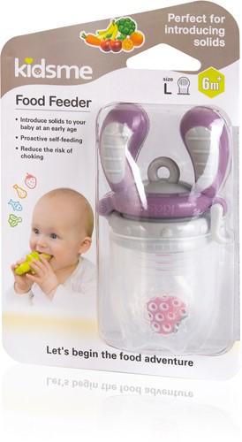 KidsMe Food Feeder Single Pack(Size:L) - Plum(Tri-Fold Silicone Sac)Blister card