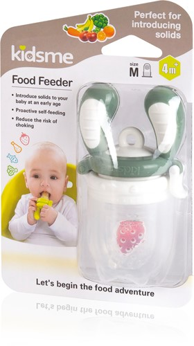 KidsMe Food Feeder Single Pack(Size:M) - Gray(Tri-Fold Silicone Sac)Blister card
