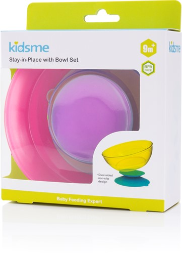 KidsMe Stay-In-Place with Bowl Set (Purple-Stay-in-Place&Pink-Bowl)