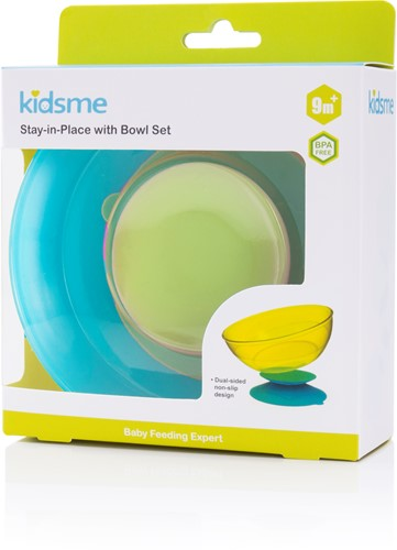 KidsMe Stay-In-Place with Bowl Set (Lime-Stay-In-Place & Sky-Bowl)