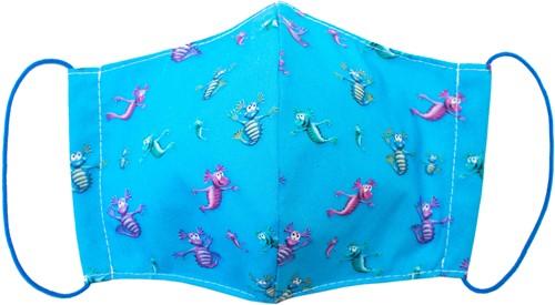 Stoffen mondkapje van wasbaar katoen - Aqua Dragons (6-9 jaar)