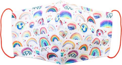 Stoffen mondkapje van wasbaar katoen - Rainbow (3-5 jaar)