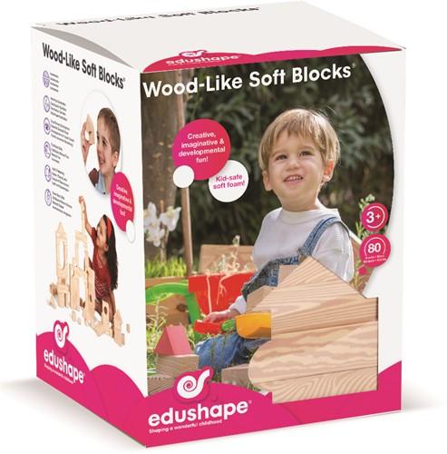 Edushape Wood- Like Soft Blocks 80 pcs