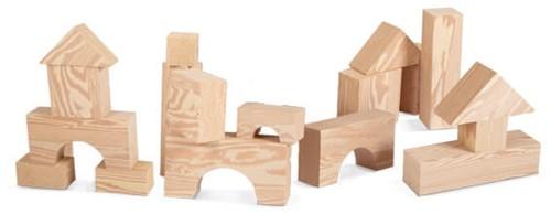 Edushape 32 grote Hout-imitatie Blokken - 75 mm