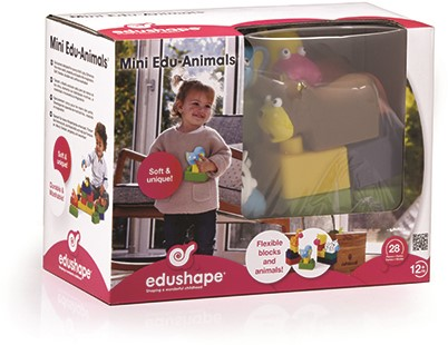 Edushape Mini Edu Dieren-Set - 6 Dieren + 22 Blokken