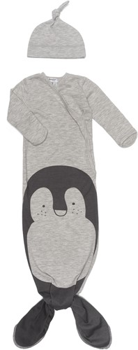 Snoozebaby ORGANIC new born cocoon 0-3 months incl hat TOG 1.0 Grey melange Pinguin