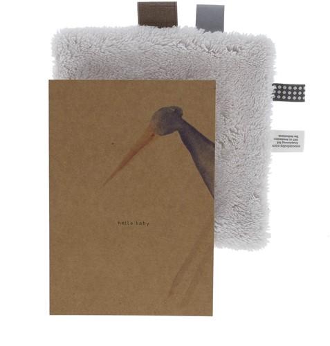 Snoozebaby Birth card gift set Stone Beige (birth card + envelope + comfort toy gift)