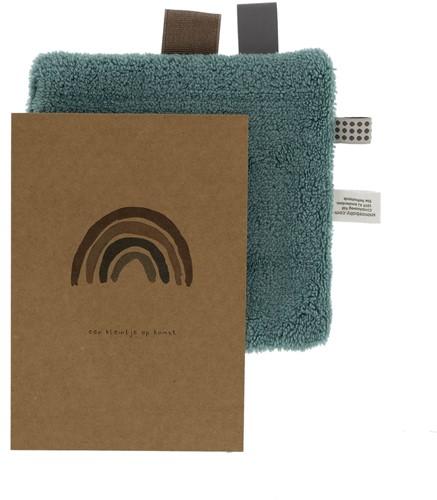 Snoozebaby Birth card gift set Smokey Green (birth card + envelope + comfort toy gift)