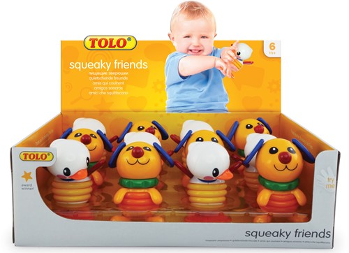 Tolo Toys Squeaky Duck and Dog display (12pcs 6xDuck 6x Dog)