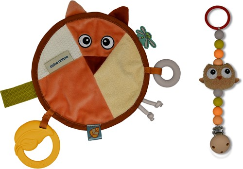 Dolce Toys Earth - Fiona the fox comforter and Ollie the owl pacifier clip holder