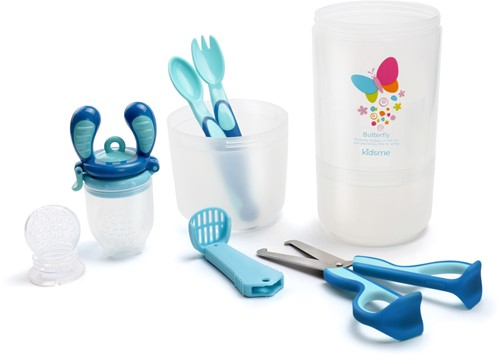 KidsMe Baby Travel Easy Set with FoodContainer (1 pc new Tri-fold Silicone Sac (M)/1 pc new Tri-fold Silicone Sac (L) Food Feeder/3-In-1 Food Scissors/Fork and Spoon) - Aquamarine