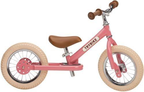 Trybike loopfiets staal Vintage roze - tweewieler
