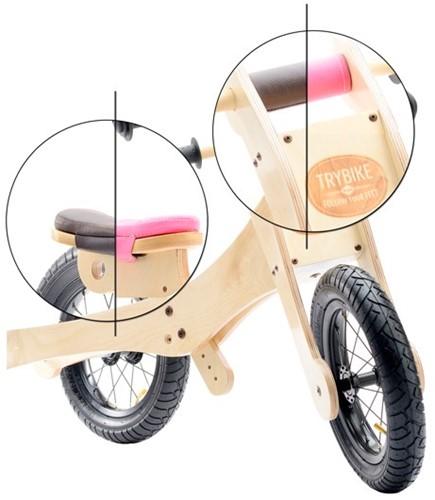 Trybike - houten loopfiets accessoires - Zadelhoes en kinbeschermer bruin